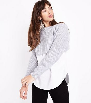 Pale Grey Cropped Jumper