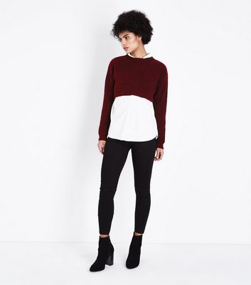 Burgundy Cropped Jumper New Look