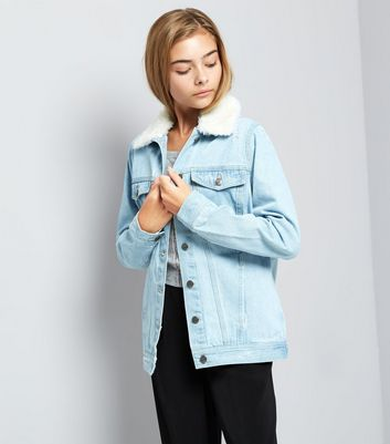 Teens Blue Borg Collar Denim Jacket New Look