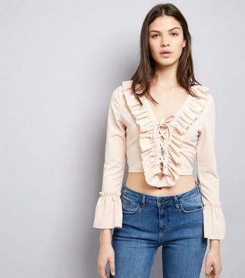 Cameo Rose Shell Pink Lace Up Frill Trim Crop Top New Look
