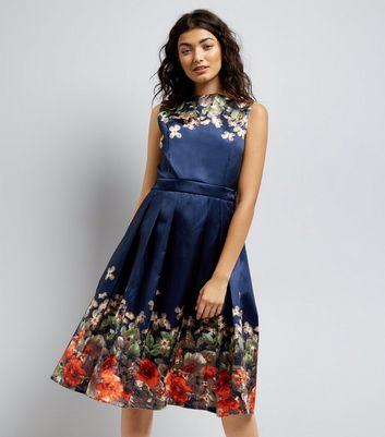 Mela Navy Floral Border Prom Dress