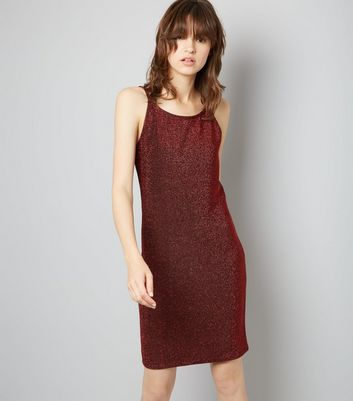 Noisy May Red Glitter Slip Dress