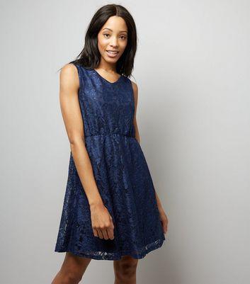 Mela Navy Lace Sequin Detail Tea Dress New Look