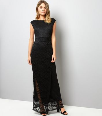 Mela Black Lace Ruched Side Maxi Dress New Look