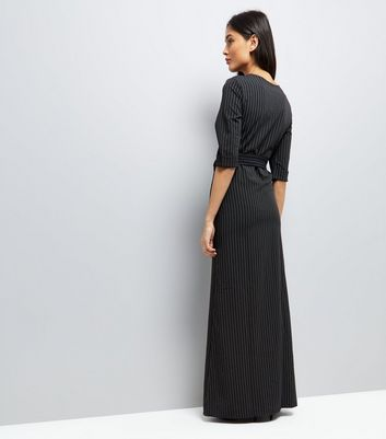 Mela Black Pinstripe Maxi Dress New Look