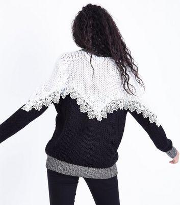 Blue Vanilla Black Crochet Trim Jumper New Look
