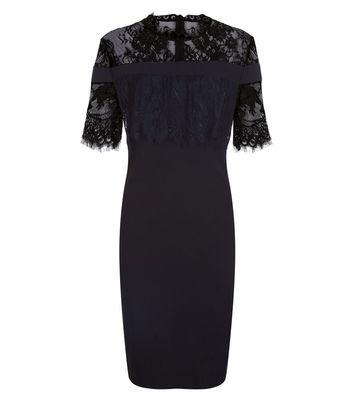 Blue Vanilla Black Lace Trim Dress New Look