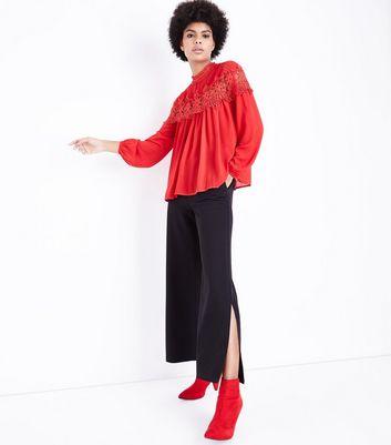 Blue Vanilla Red Crochet Panel Blouse New Look