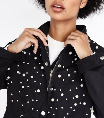 Blue Vanilla Black Pearl Trim Jacket New Look
