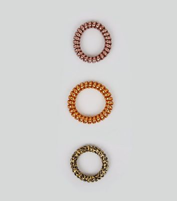 3 Pack Bronze and Leopard Print Spiral Bobbles New Look