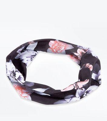 Black Digital Floral Print Headband New Look