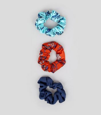 3 Pack Navy Floral Print Scrunchies New Look