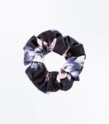 Black Floral Print Scrunchie New Look