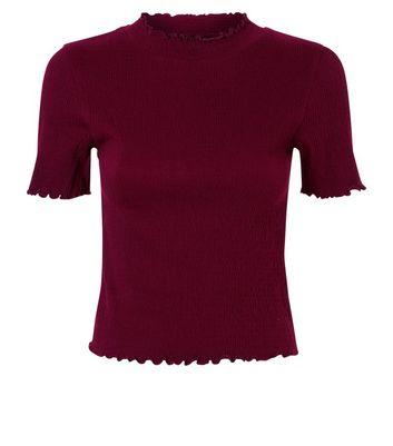 Burgundy Frill Hem T-Shirt New Look