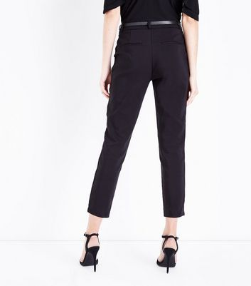 Black Premium Belted Cropped Trousers New Look