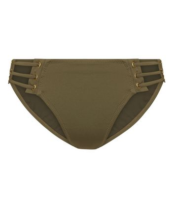Khaki Eyelet Strappy Bikini Bottoms New Look