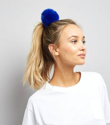 Blue Faux Fur Pom Pom Hair Band New Look