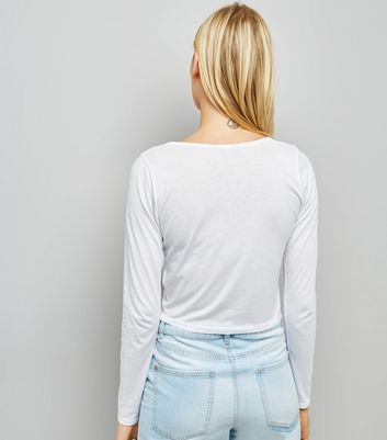 White Ruched Front Long Sleeved Top New Look