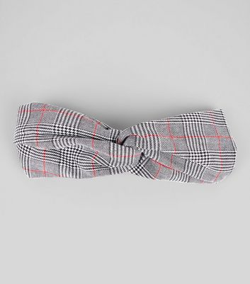 Black Check Pattern Knot Top Hair Band New Look