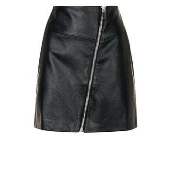 Black Asymmetric Leather-Look Mini Skirt New Look