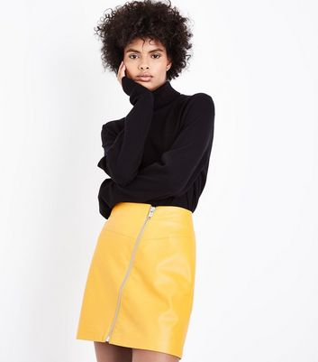 Yellow Asymmetric Leather-Look Mini Skirt New Look