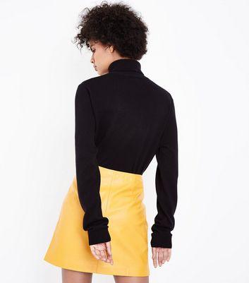 yellow-asymmetric-leather-look-mini-skirt