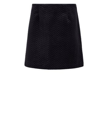 Black Embossed Velvet Mini Skirt New Look