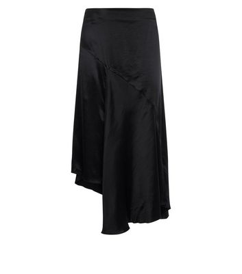 Black Asymmetric Satin Midi Skirt New Look