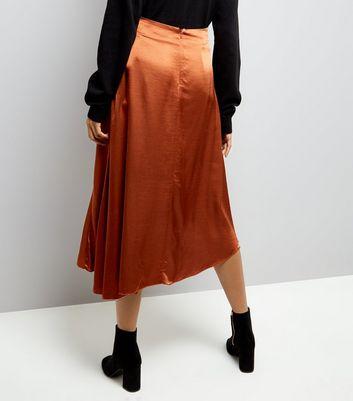 Brown Asymmetric Satin Midi Skirt New Look