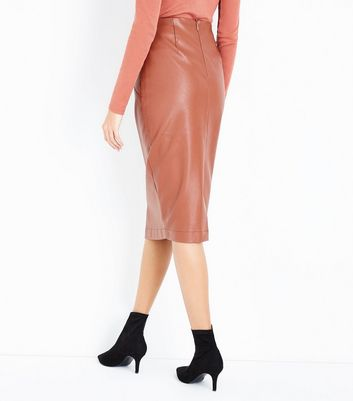 Tan Seam Detail Leather-Look Pencil Skirt New Look