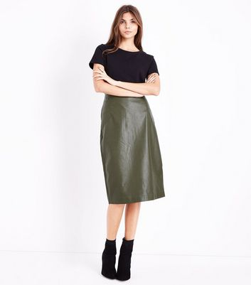 Green Seam Detail Leather-Look Pencil Skirt New Look