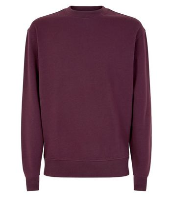Dark Red Ribbed Panel Sweatshirt New Look