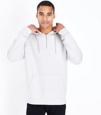Pale Grey Half Zip Hoodie New Look