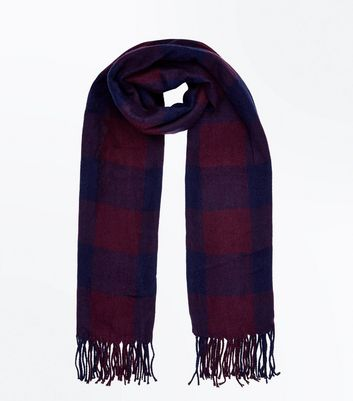 Burgundy Check Oversized Scarf New Look