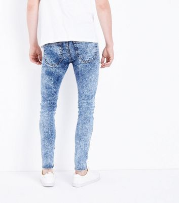 Blue Acid Wash Super Skinny Jeans New Look