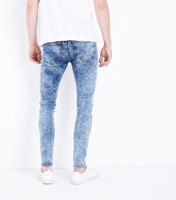 Blue Acid Wash Super Skinny Jeans New Look