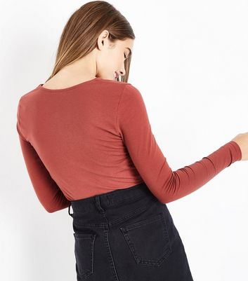 Rust Lace Up Neck Long Sleeve Top New Look