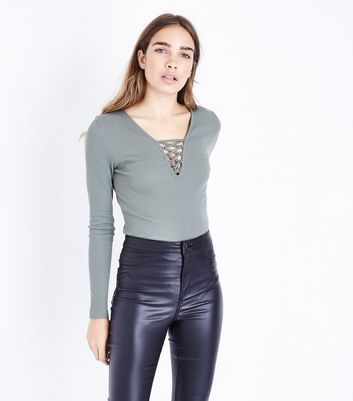 Olive Green Lace Up Neck Long Sleeve Top New Look