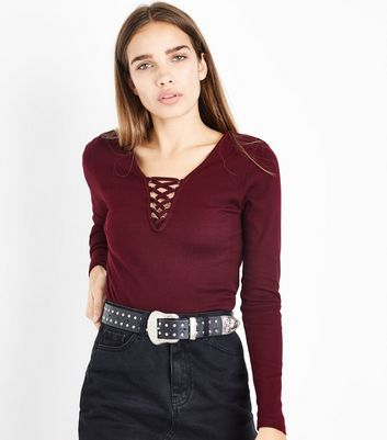 Burgundy Lace Up Neck Long Sleeve Top New Look