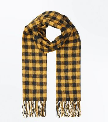 Yellow Check Fringe Trim Scarf New Look