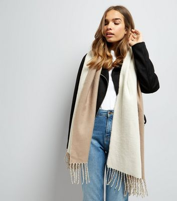 Stone and Cream Colour Block Scarf New Look