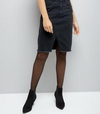 Black Sheer Polka Dot Tights New Look