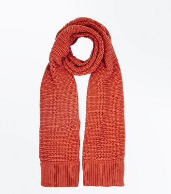 Orange Ribbed Texture Scarf New Look