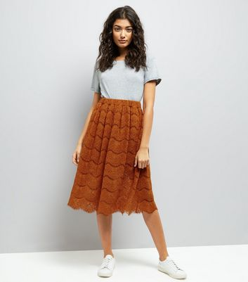 Tan Lace Midi Skirt New Look