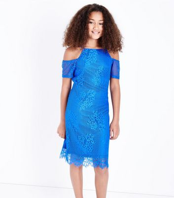 Teens Blue Lace Cold Shoulder Bodycon Dress New Look