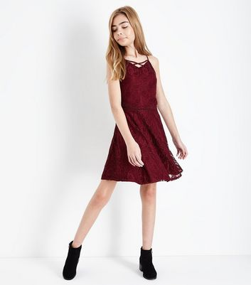 Teens Burgundy Lace Lattice Front Skater Dress New Look