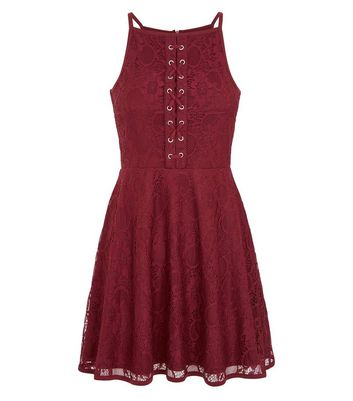 Teens Burgundy Eyelet Lace Skater Dress New Look