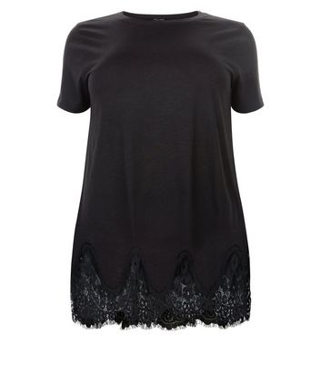 Curves Black Lace Hem Oversized T-Shirt New Look