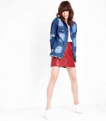 Pink Vanilla Blue Distressed Denim Jacket New Look