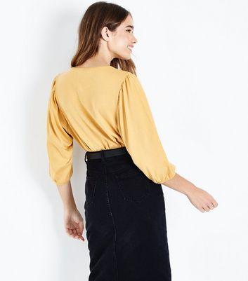Mustard Yellow 3/4 Balloon Sleeve Top New Look